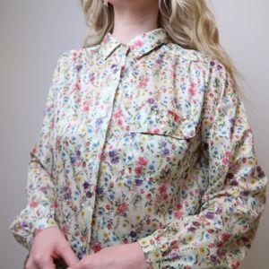 Vintage 70's cream floral print silky top